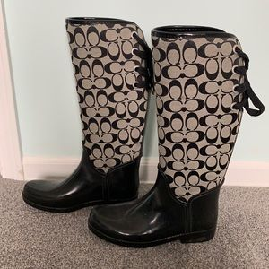 Coach Black/Grey rain boots.